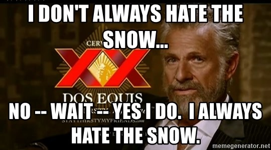 Dos Equis Man - I don't always hate the snow... No -- wait -- yes I do.  I always hate the snow.