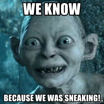 Image result for gollum sneaking
