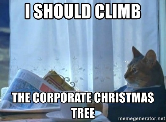 newspaper cat realization - I should climb the corporate christmas tree