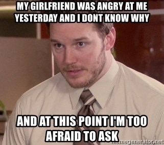My girlfriend was angry at me yesterday and I dont know why