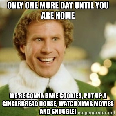Buddy the Elf - Only one more day until you are home We're gonna bake cookies, put up a gingerbread house, watch Xmas movies and snuggle!