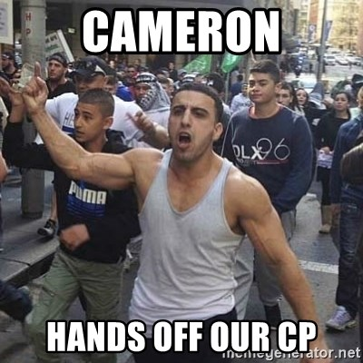 Western Muslim Protestor - Cameron hands off our CP