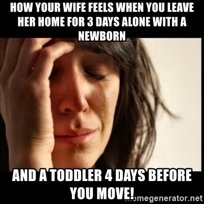 How your wife feels when you leave her home for 3 days alone