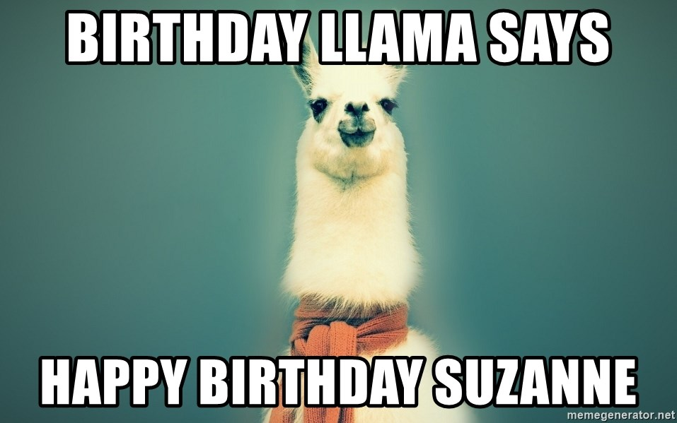 Pancakes llama - Birthday Llama says Happy Birthday Suzanne