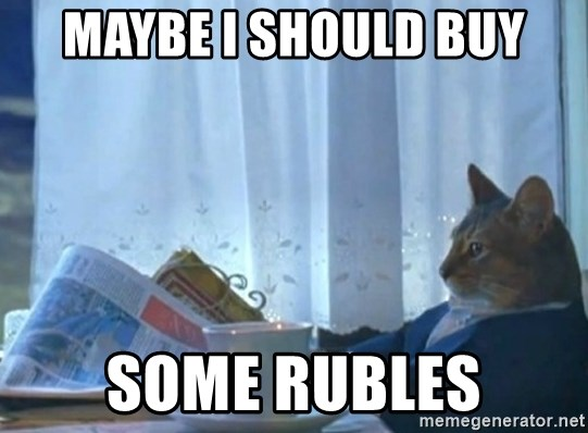 newspaper cat realization - Maybe I should buy some Rubles