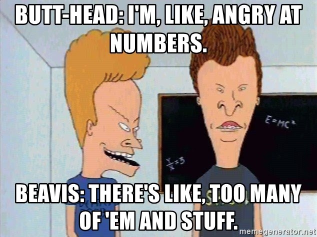 Beavis and butthead - Butt-head: I'm, like, angry at numbers. Beavis: There's like, too many of 'em and stuff.