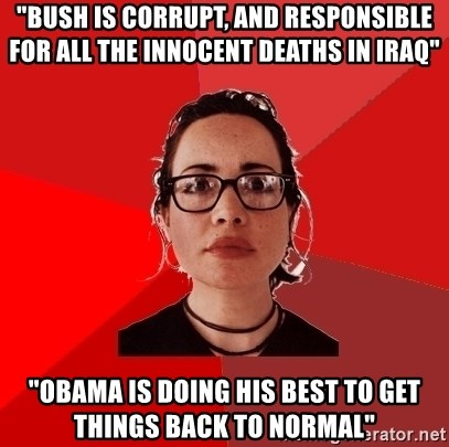 """Liberal Douche Garofalo - """"bush is corrupt, and responsible for all the innocent deaths in iraq"""" """"Obama is doing his best to get things back to normal"""""""