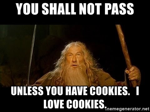 you shall not pass gandalf the gray - you shall not pass unless you have cookies.   i love cookies.