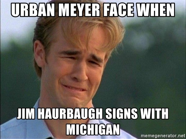 Crying Man - Urban Meyer face when  Jim Haurbaugh signs with Michigan