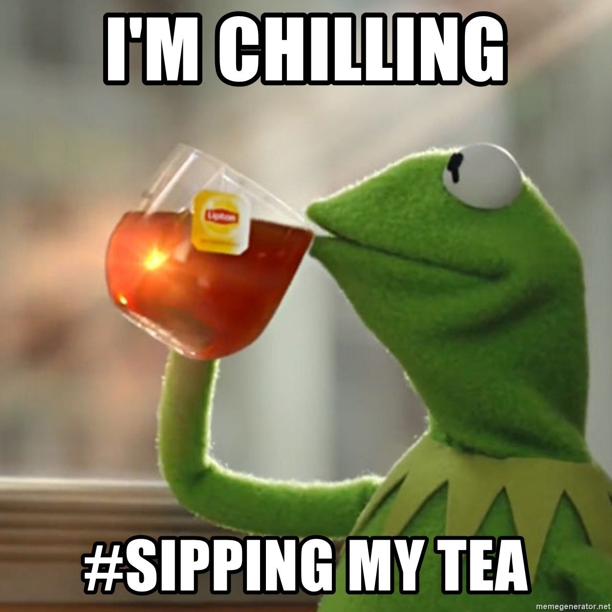Snitching Kermit the Frog - I'm chilling #sipping my tea