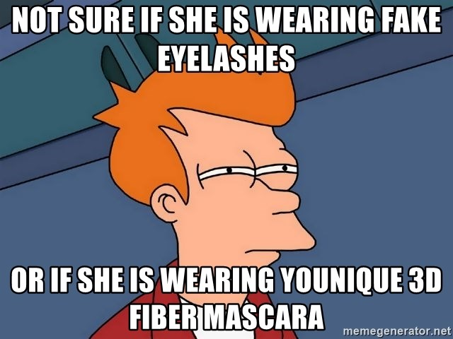Futurama Fry - not sure if she is wearing fake eyelashes or if she is wearing younique 3d fiber mascara