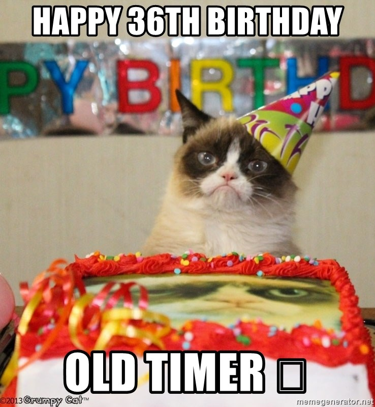 Grumpy Cat Birthday hat - happy 36th birthday  old timer 😉