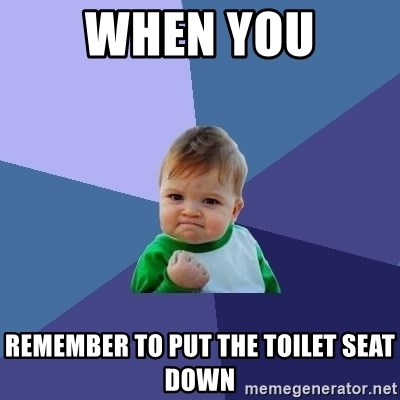 Success Kid - when you remember to put the toilet seat down