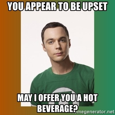 You appear to be upset May I offer you a hot beverage? - sheldon cooper |  Meme Generator