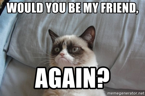 Would You Be My Friend Again Grumpy Cat Meme Generator