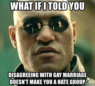What if I told you / Matrix Morpheus - What if i told you disagreeing with gay marriage doesn't make you a hate group