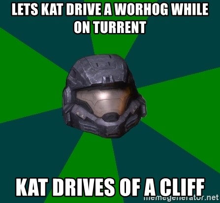 Halo Reach - LETS KAT DRIVE A WORHOG WHILE ON TURRENT KAT DRIVES OF A CLIFF