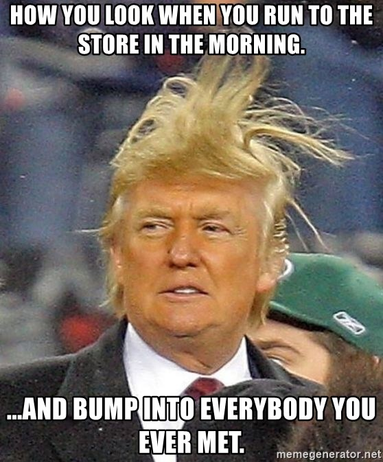 Donald Trump wild hair - How you look when you run to the store in the morning. ...and bump into everybody you ever met.