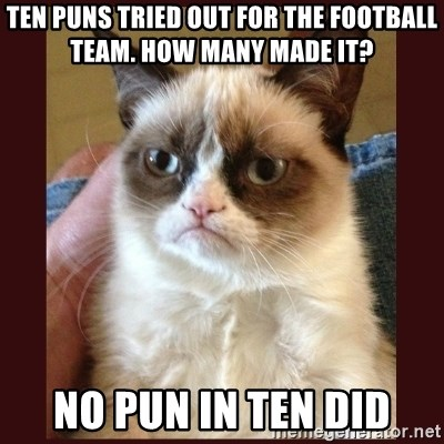 Tard the Grumpy Cat - Ten puns tried out for the football team. How many made it?  No pun in ten did
