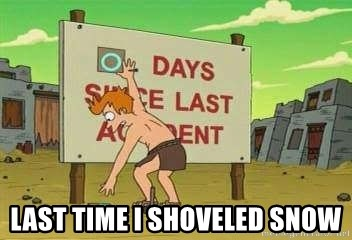 days since -  Last Time I Shoveled Snow