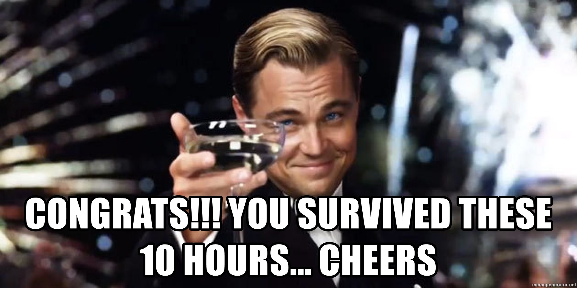 Leonardo Dicaprio Wine Glass - congrats!!! you survived these 10 hours... cheers