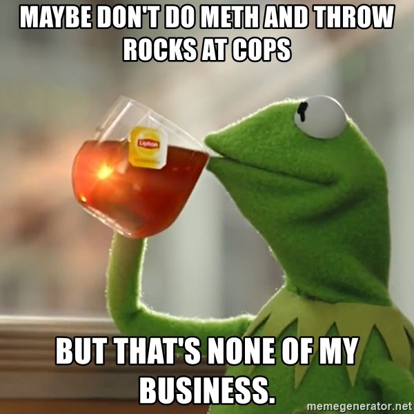 Kermit The Frog Drinking Tea - Maybe don't do meth and throw rocks at cops But that's none of my business.