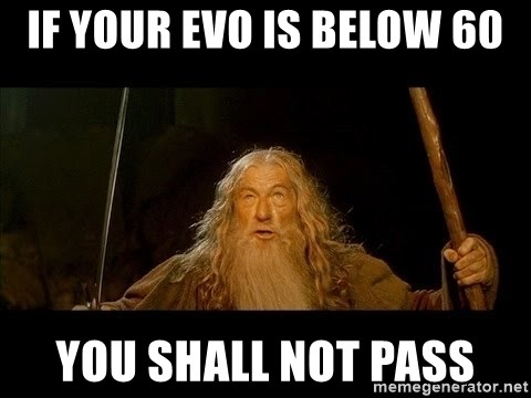 you shall not pass gandalf the gray - if your evo is below 60 you shall not pass