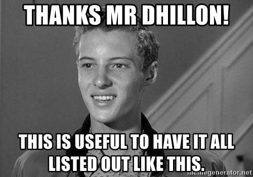 Eddie Haskell - Thanks Mr dhillon!  This is useful to have it all listed out like this.