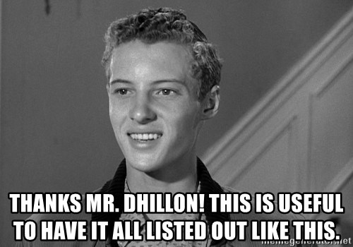 Eddie Haskell - THANKS MR. DHILLON! This is useful to have it all listed out like this.