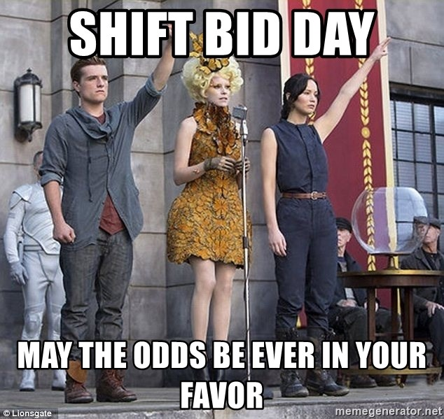 Shift Bid Day May The Odds Be Ever In Your Favor Hunger Games Salute Meme Generator