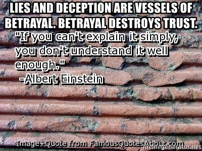 Lies And Deception Are Vessels Of Betrayal Betrayal Destroys Trust
