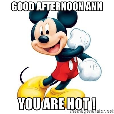 Good Afternoon Ann You Are Hot Mickey Mouse Meme Generator