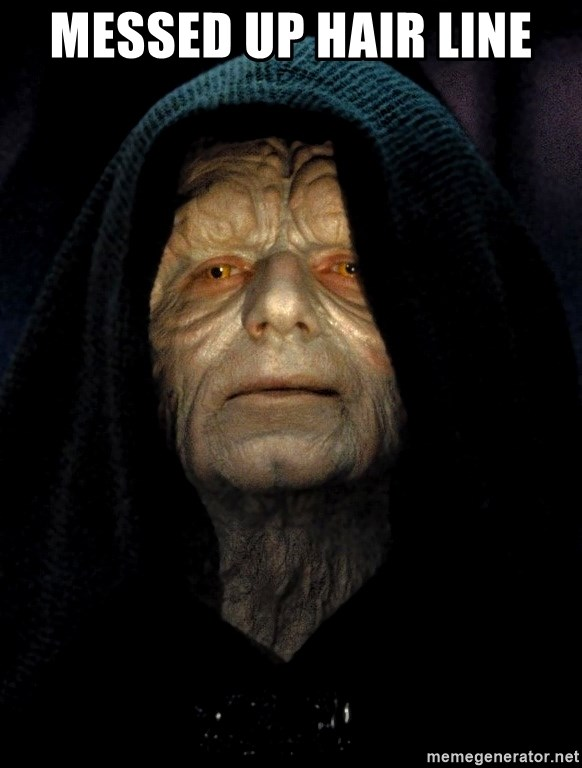 Messed Up Makeup: Messed Up Hair Line - Star Wars Emperor