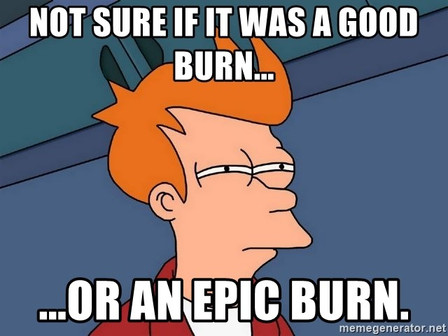 not sure if it was a good burn or an epic burn not sure if it was a good burn or an epic burn futurama fry