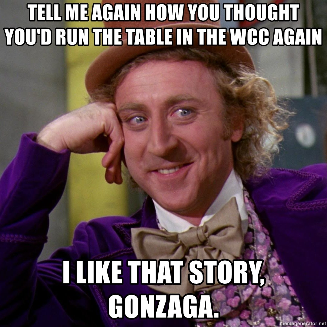 tell me again how you thought youd run the table in the wcc again i like that story gonzaga tell me again how you thought you'd run the table in the wcc again