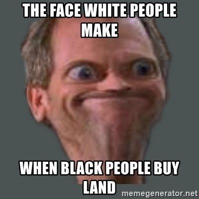 Housella ei suju - the face white people make  when black people buy land