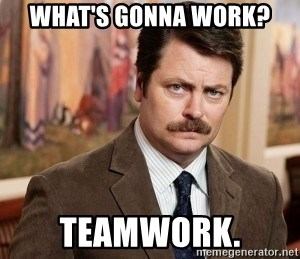 Ron Swanson - what's gonna work? teamwork.
