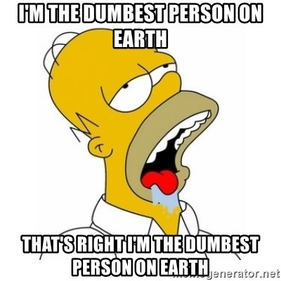 I M The Dumbest Person On Earth That S Right I M The Dumbest Person On Earth Homer Simpson Drooling Meme Generator