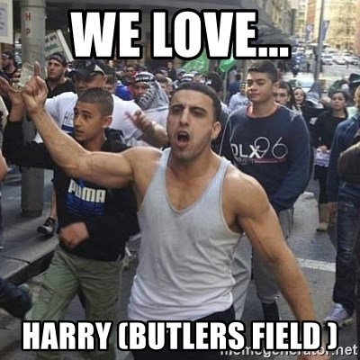 Western Muslim Protestor - We love... HARRY (Butlers field )