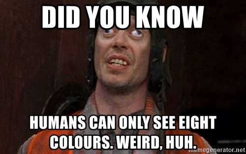 Crazy Eyes Steve - did you know humans can only see eight colours. weird, huh.