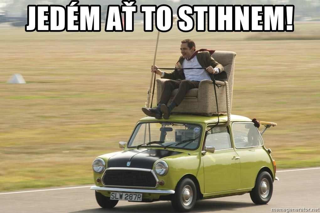 mr bean mini cooper - Jedém ať to stihnem!