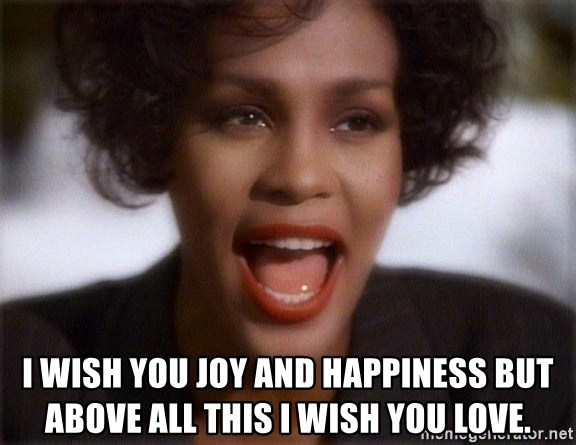 Whitney Houston Bodyguard -  I wish you joy and happiness but above all this I wish you love.