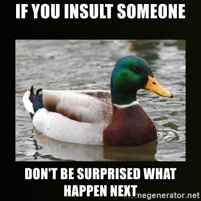 if you insult someone don't be surprised what happen next - good