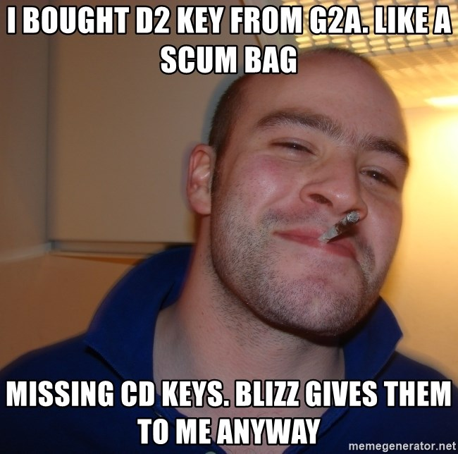 i bought d2 key from g2a like a scum bag missing cd keys blizz gives them to me anyway i bought d2 key from g2a like a scum bag missing cd keys blizz