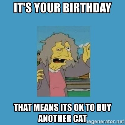 Crazy Cat Lady Birthday Meme