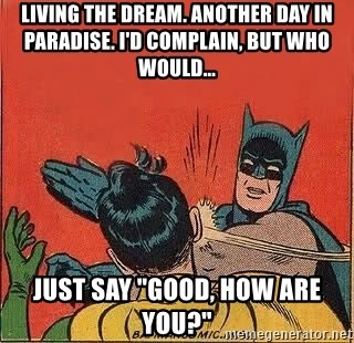"""batman slap robin - Living the dream. Another day in paradise. I'd complain, but who would... Just say """"Good, how are you?"""""""