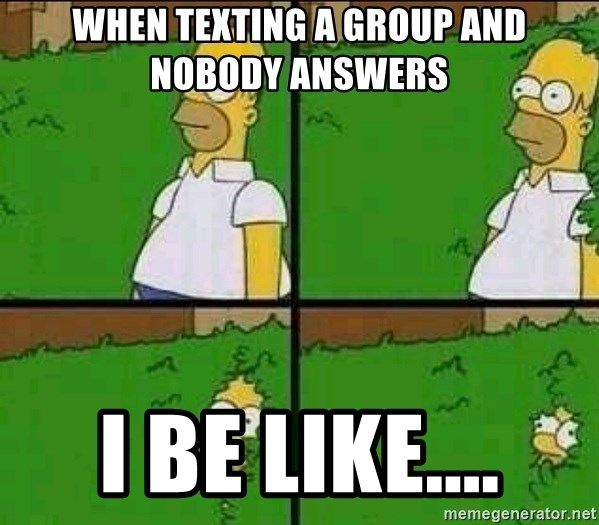 When texting a group and nobody answers I be like