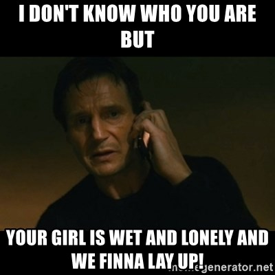 liam neeson taken - I Don't Know who you are but Your girl is wet and lonely and we finna lay up!