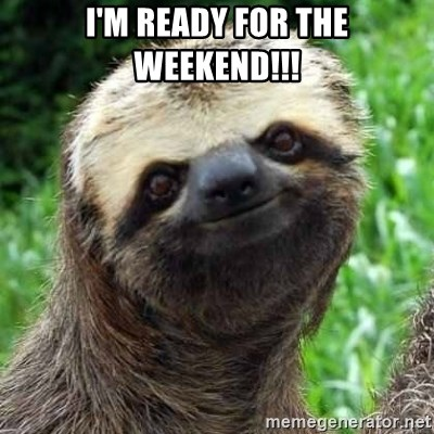 I'm ready for the weekend!!! - Sarcastic Sloth | Meme Generator