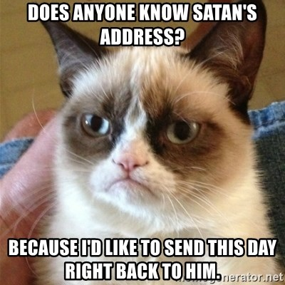 Grumpy Cat  - Does Anyone Know satan's address? Because I'd like to send this day right back to him.